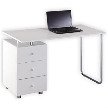 Schreibtisch NEVIO in weiß mit 3 Schubladen