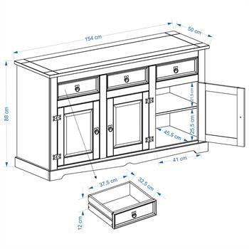 Anrichte Sideboard TEQUILA mit 3 Türen + 3 Schubladen gebeizt/gewachst