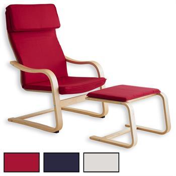 Relaxsessel LINA mit Hocker in 3 Farben