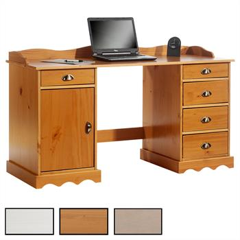 Kiefer Schreibtisch SANDRINE mit Aufsatz