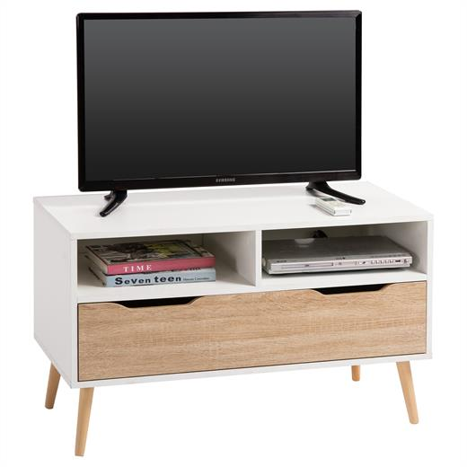tv rack hifi m bel lowboard fernsehtisch schrank wei sonoma eiche 90 cm breit ebay. Black Bedroom Furniture Sets. Home Design Ideas