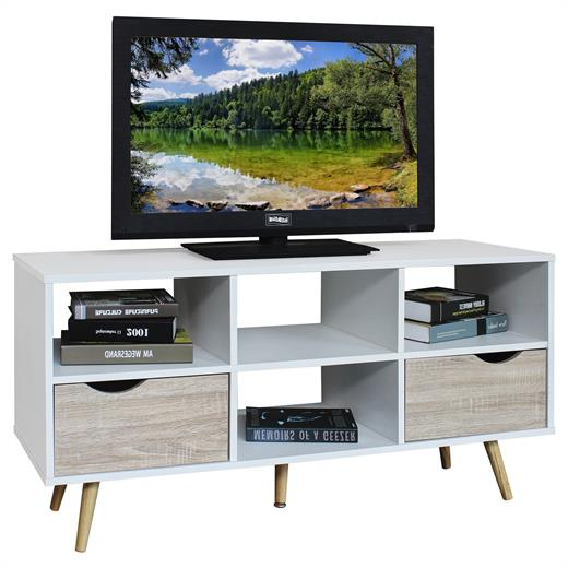 tv lowboard rack hifi m bel fernsehtisch wei sonoma eiche. Black Bedroom Furniture Sets. Home Design Ideas