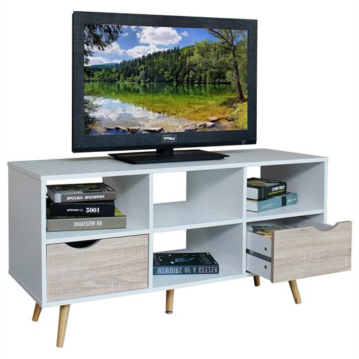 tv lowboard rack hifi m bel fernsehtisch wei sonoma eiche skandinavisch retro ebay. Black Bedroom Furniture Sets. Home Design Ideas