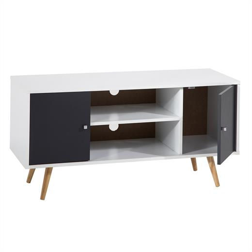 b ware tv lowboard tv rack hifi m bel fernsehtisch 2 wahl weiss grau foliert ebay. Black Bedroom Furniture Sets. Home Design Ideas
