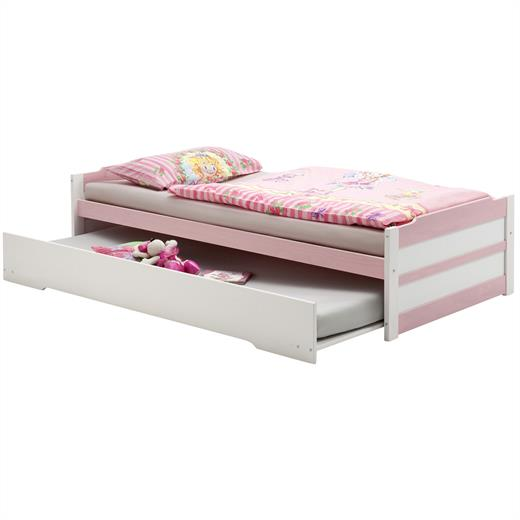 schubladenbett kojenbett funktion auszug bett kiefer massiv weiss rosa 90x200 cm ebay. Black Bedroom Furniture Sets. Home Design Ideas