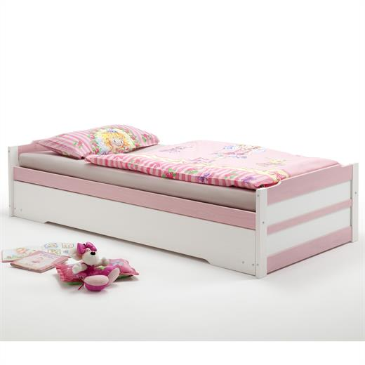 schubladenbett kojenbett funktion auszug bett kiefer massiv weiss rosa 90x200 cm ebay. Black Bedroom Furniture Sets. Home Design Ideas