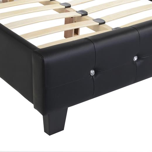polsterbett mit lattenrost lederimitat schwarz 120 x 200 cm doppelbett einzelbet ebay. Black Bedroom Furniture Sets. Home Design Ideas