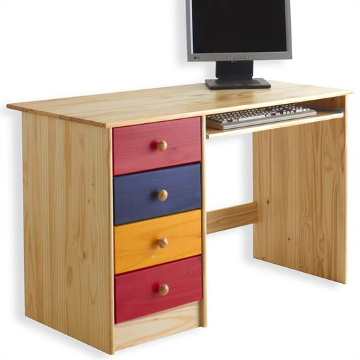 kinderschreibtisch sch lerschreibtisch schreibtisch kiefer massiv bunt lackiert 4016787072174 ebay. Black Bedroom Furniture Sets. Home Design Ideas