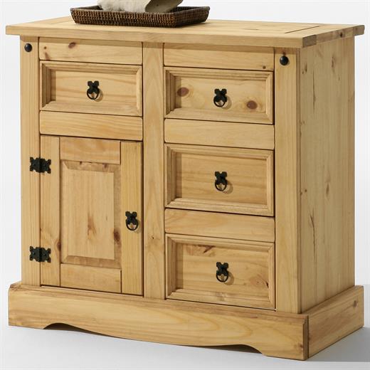 anrichte sideboard kommode mexiko m bel 1 t r 4 schubladen gebeizt gewachst ebay. Black Bedroom Furniture Sets. Home Design Ideas