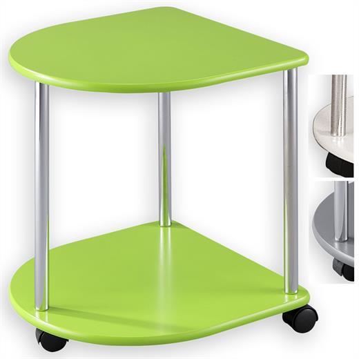 couchtisch beistelltisch wohnzimmertisch tisch rund auf rollen und 2 ablagen ebay. Black Bedroom Furniture Sets. Home Design Ideas