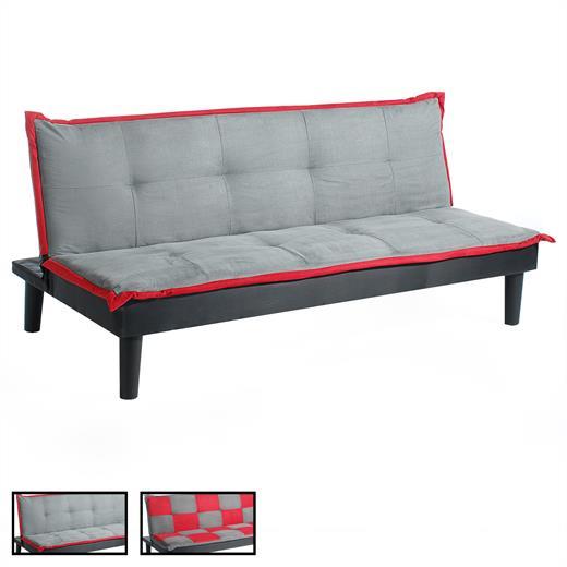 sofabett klappsofa schlafsofa schlafcouch klappcouch 3 sitzer grau rot ebay. Black Bedroom Furniture Sets. Home Design Ideas