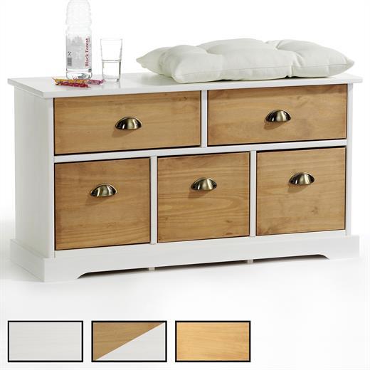 sitzbank garderobenbank kommode kiefer massiv mit 5. Black Bedroom Furniture Sets. Home Design Ideas
