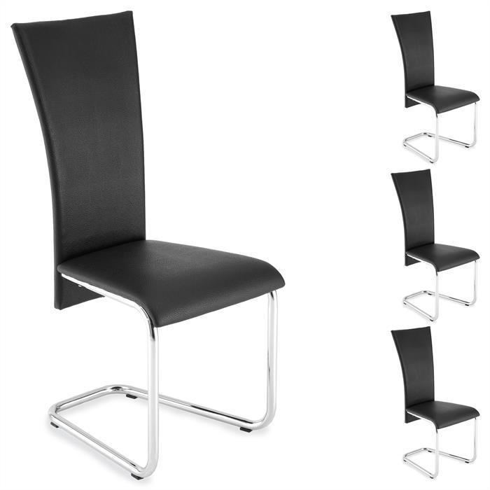 Schwingstuhl ANNETTE Set mit 4 Stühlen in schwarz
