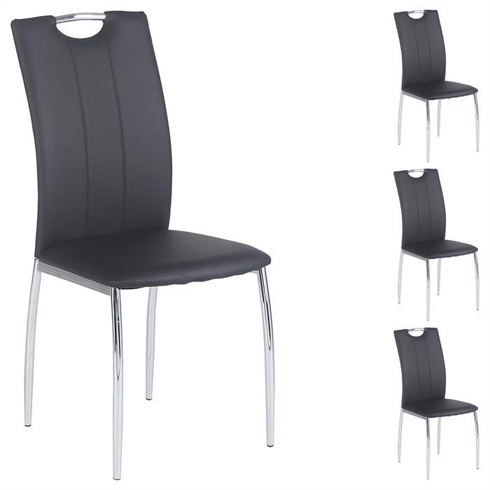 Esszimmerstuhl APOLLO, Set mit 4 Stühlen schwarz