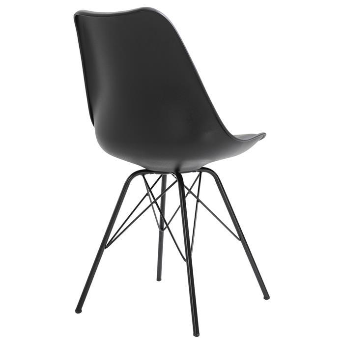 Esszimmerstuhl VALLEY 2er Set Kunstlederbezug in schwarz