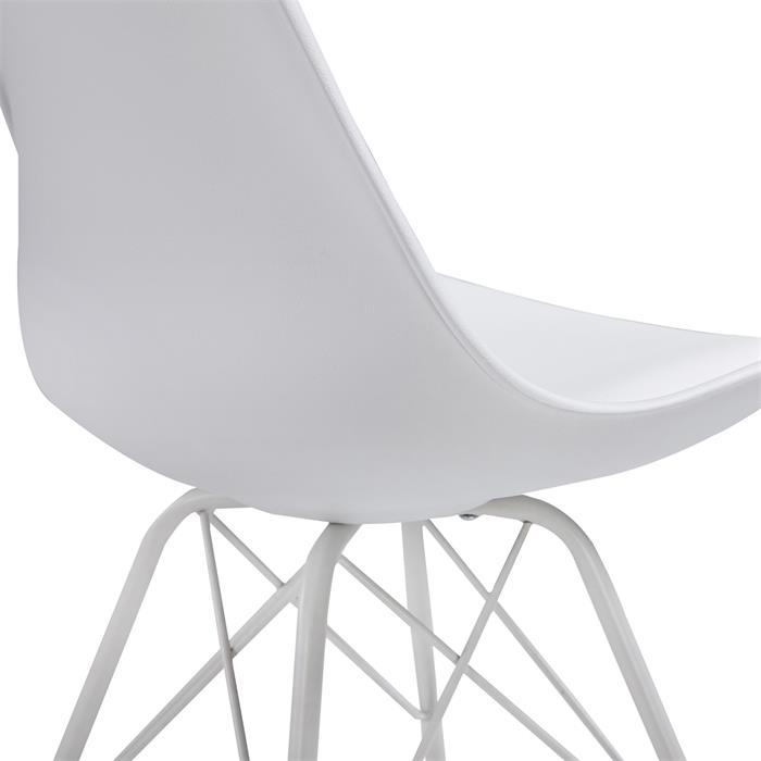 Esszimmerstuhl VALLEY 2er Set Kunstlederbezug in weiß