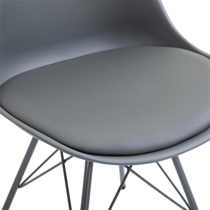 Esszimmerstuhl VALLEY 2er Set Kunstlederbezug in grau