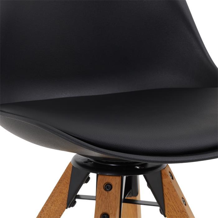 Esszimmerstuhl BOLIVIA im 2er Pack drehbar mit Kunstleder in schwarz