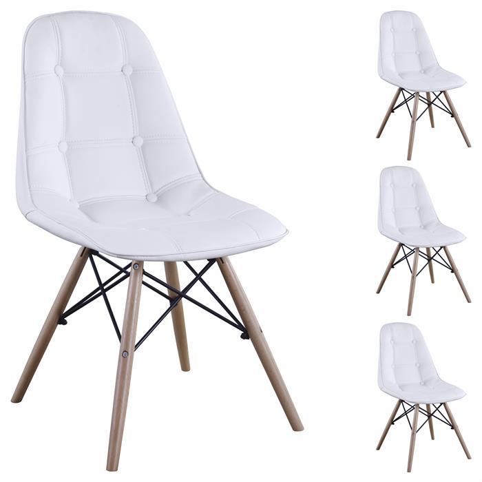 4er Set Design Esszimmerstuhl CESAR weiß