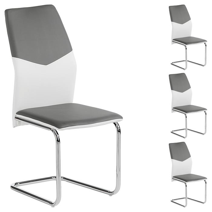Schwingstuhl LEONA, 4er Set in weiß/grau