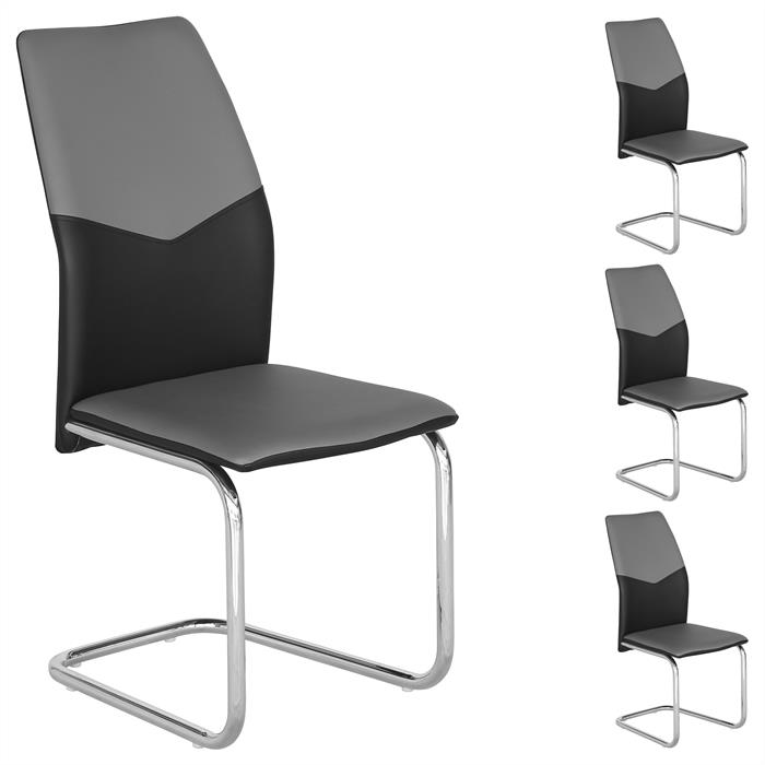 Schwingstuhl LEONA, 4er Set in grau/schwarz