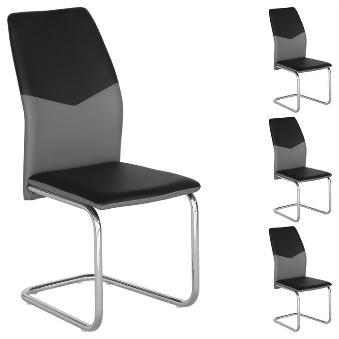 schwingstuhl leona 4er set in schwarz grau mobilia24. Black Bedroom Furniture Sets. Home Design Ideas