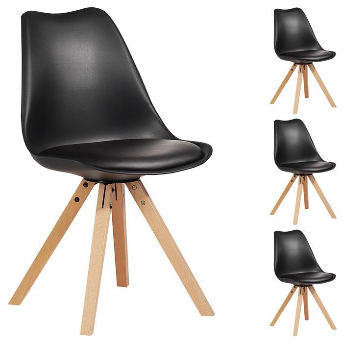Esszimmerstuhl TYSON Retro Design 4er Set in schwarz