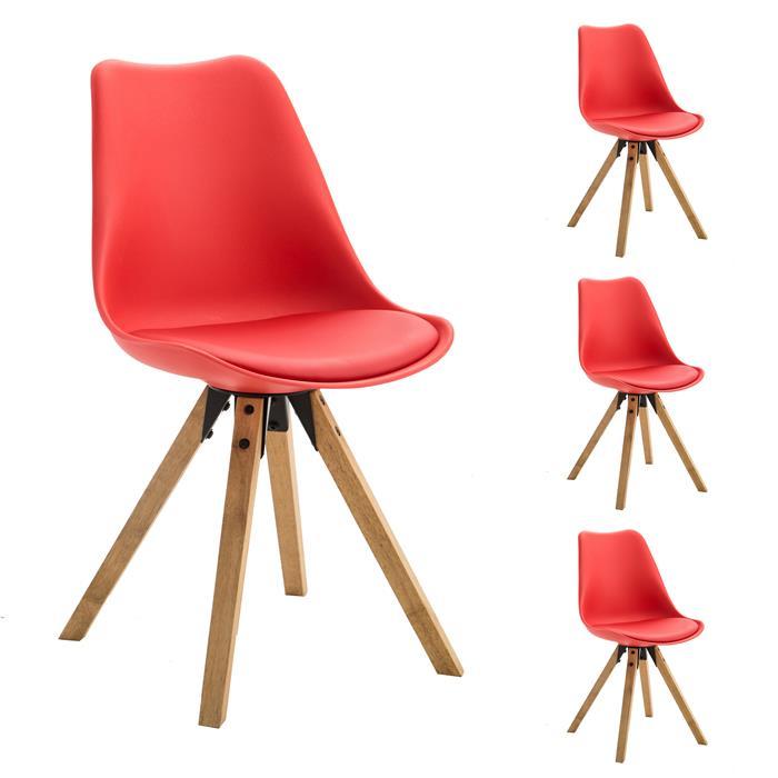 Esszimmerstuhl TYSON Retro Design 4er Set in rot