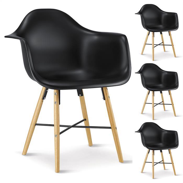 Esszimmerstuhll Retro Design EMILIO 4er Set in schwarz