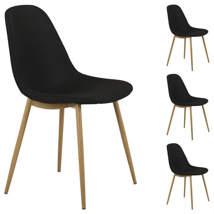 4er Set Stuhl BRIT Stoff, schwarz
