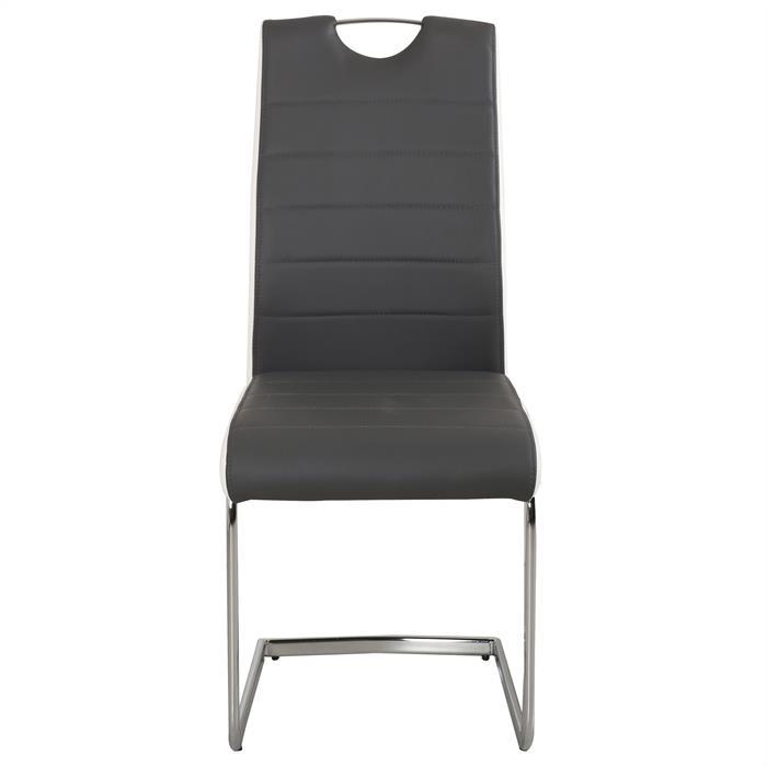4er Set Schwingstuhl ALAN grau/weiß