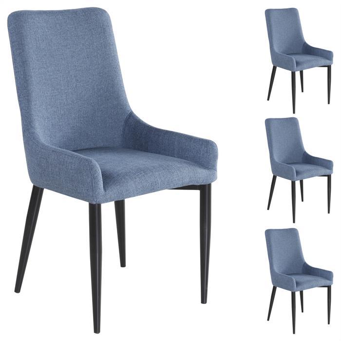 4er Set Stuhl KYLIE Stoffbezug, blau