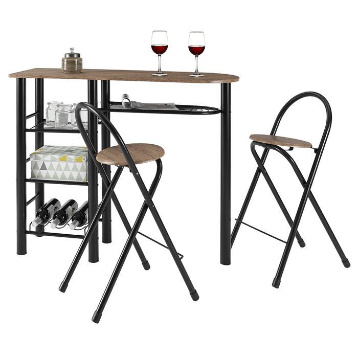 Bartisch STYLE mit 2 Stühlen in Wildeiche