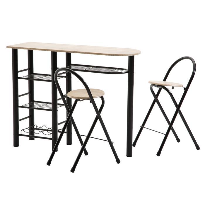 Bartisch STYLE mit 2 Stühlen sonoma/schwarz