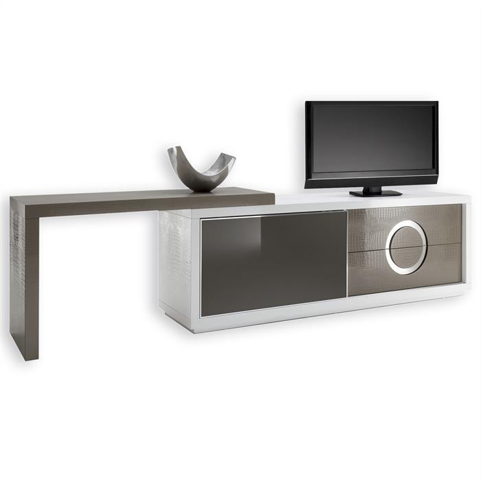 TV-Möbel ACAPULCO kroko, weiß/cappuccino cappuccino