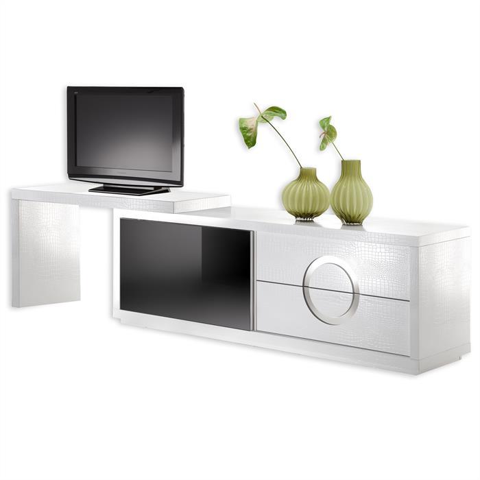 TV-Möbel ACAPULCO kroko, weiß/schwarz weiss