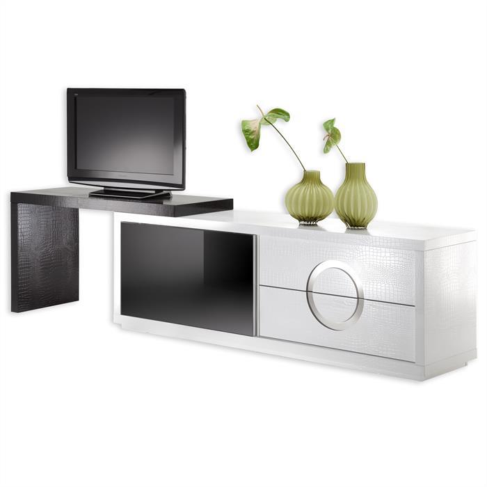 TV-Möbel ACAPULCO kroko, weiß/schwarz, schwarz