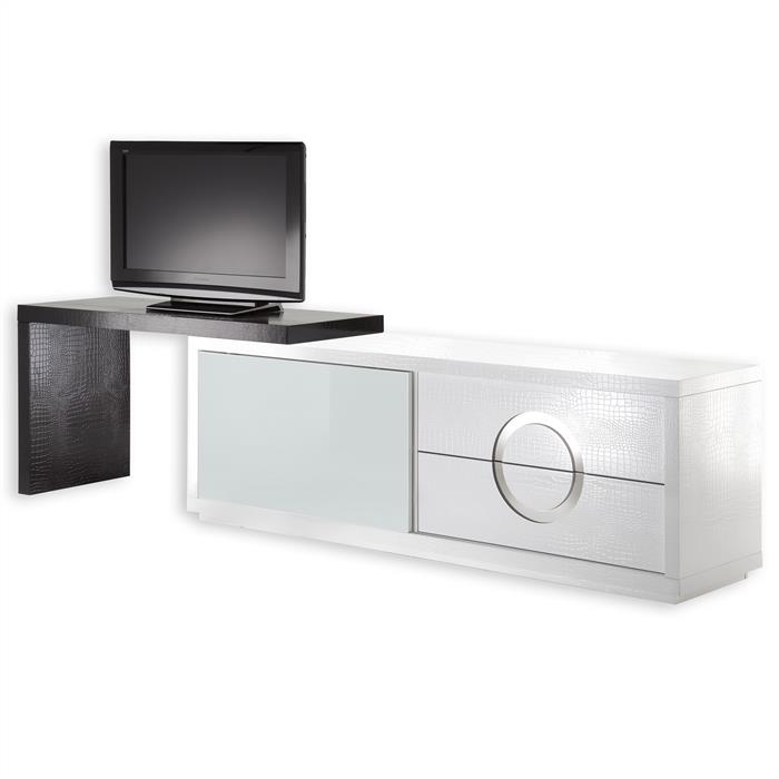 TV-Möbel ACAPULCO kroko, weiß/ schwarz
