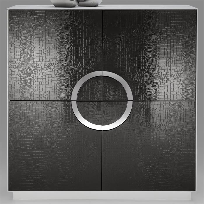 Design Schrank Kommode Sideboard ACAPULCO weiß/schwarz