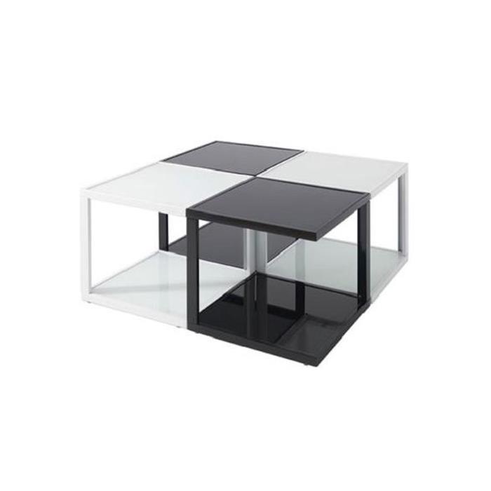 Couchtisch DOMI mit Glasböden in schwarz