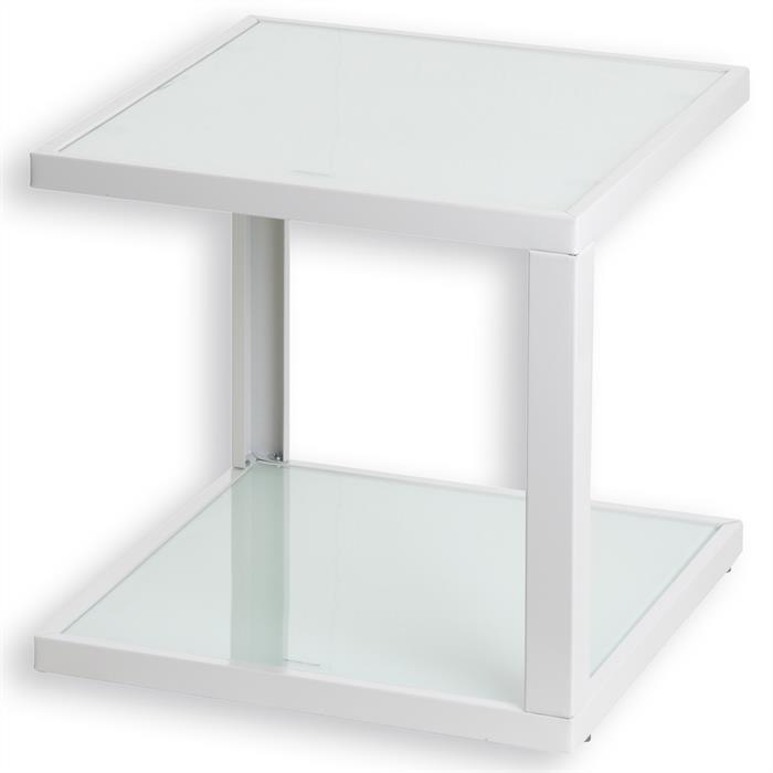 Couchtisch DOMI mit Glasböden in weiß