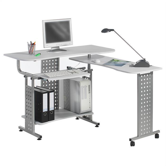 PC-Schreibtisch ALPHA in weiß/alufarben