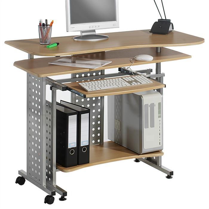 PC-Schreibtisch ALPHA in buchefarben/alu