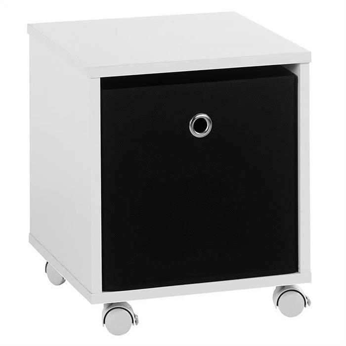 Nachttisch BOBBY in weiß mit Stoffbox