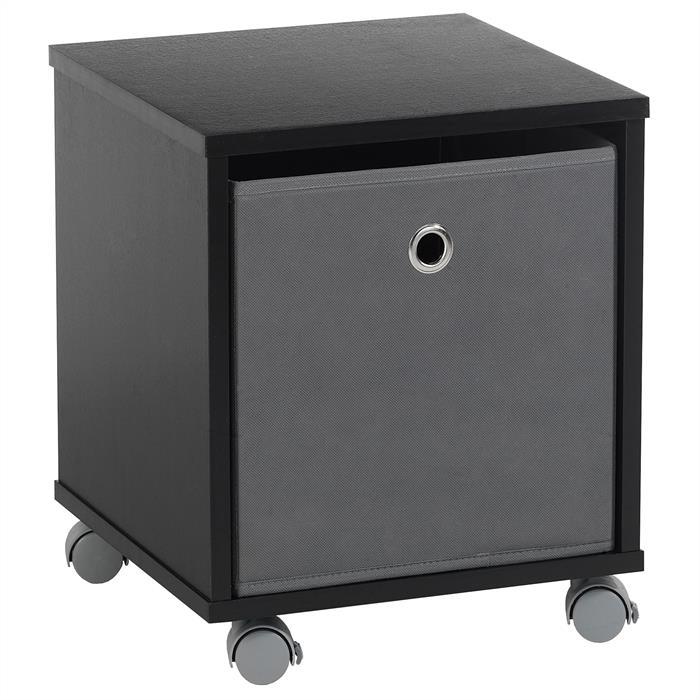 Nachttisch BOBBY in schwarz mit Stoffbox