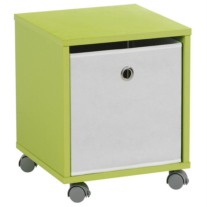 Nachttisch BOBBY in grün mit Stoffbox