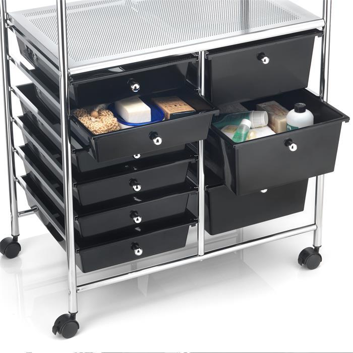 Badezimmerwagen MARITA Friseurwagen mit 9 Schubladen, schwarz