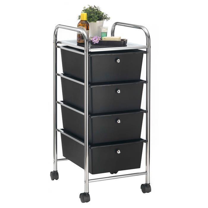 Rollcontainer GINA mit 4 Schubladen in chrom/schwarz