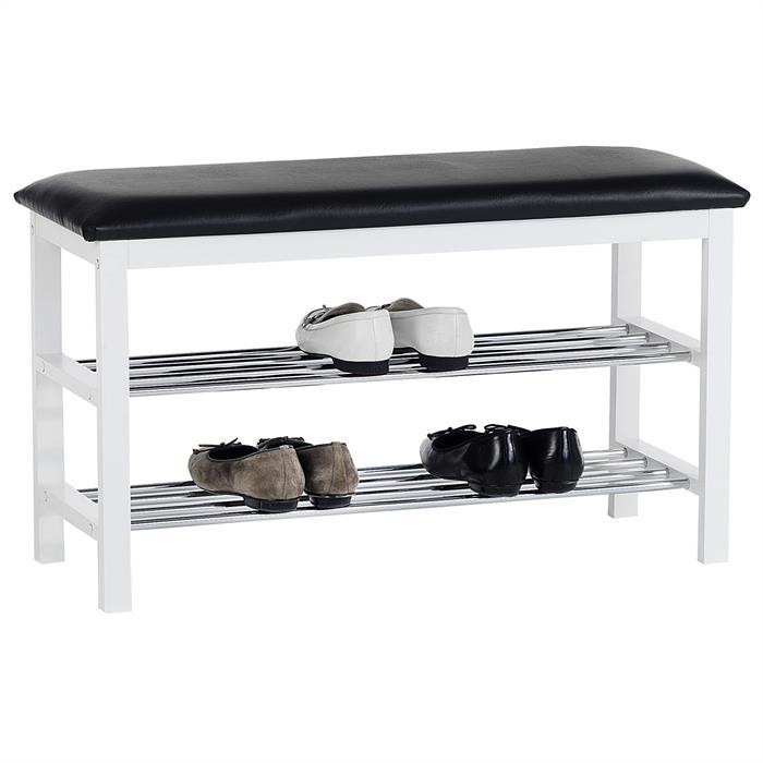 Sitzbank SANA mit Schuhregal, weiß/schwarz mit 2 Böden
