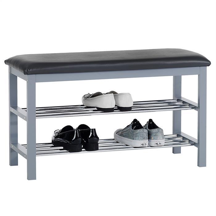 Sitzbank SANA mit Schuhregal, grau mit 2 Böden